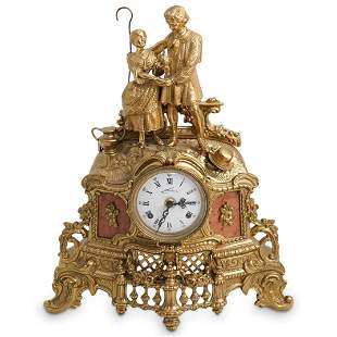 Lancini Italian Gilt Brass & Marble Mantel Clock