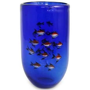 Murano Fish Aquarium Art Glass Vase