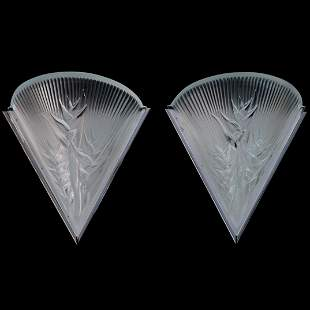 """Lalique """"Heliconia"""" Crystal Wall Sconces"""