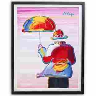 "Peter Max (American b. 1937) ""Umbrella Man"" Acrylic On"