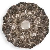 Portuguese 800 Silver Repousse Charger