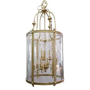 Large Brass & Glass Lantern Foyer Chandelier