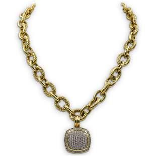 David Yurman 18k Gold Albion Pendant and Necklace