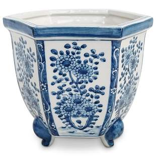 Antique Japanese Blue and White Planter