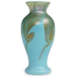 Rare Steuben Iridized Turquoise Vase