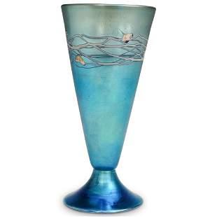 Steuben Blue Aurene footed Cone Vase