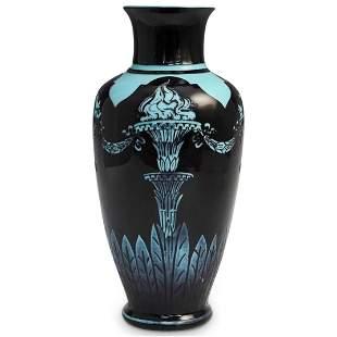 Steuben Mirror Black Turquoise Vase