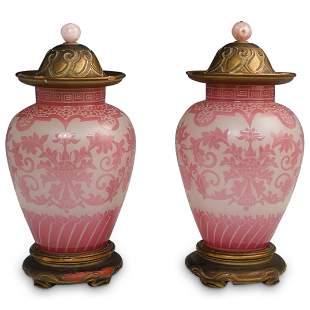 Steuben Pair of Rosaline Chinoiserie Ginger Jars
