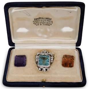 Platinum Interchangeable Precious Stone Brooch