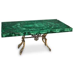 19th Ct Russian Silver and Malachite Miniature Table
