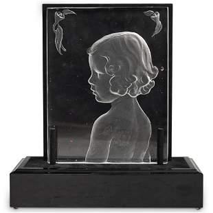 Steuben Gladys Carder Glass Relief (Welles (b. 1889 -