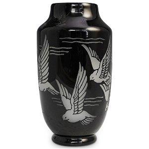 Steuben Black Alabaster Vase