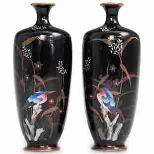 Pair of Mini Meiji Japanese Cloisonne Vases
