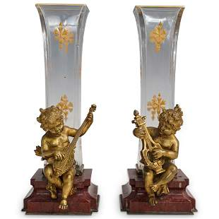 Antique French Figural Bronze and Marble Vases