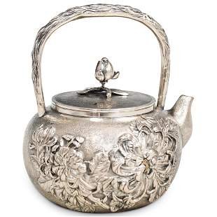 Japanese Meiji Silver Teapot