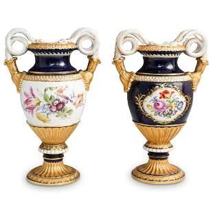Pair Of Meissen Serpentine Porcelain Urns