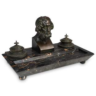 """French Bronze & Marble """"Homer"""" Double Inkwell"""