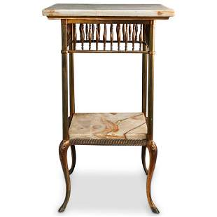Victorian Onyx & Brass Plant Stand Table