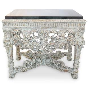 Carved Gesso Wood Marble Console Table