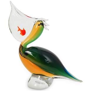 Hand Blown Art Glass Pelican Sculpture