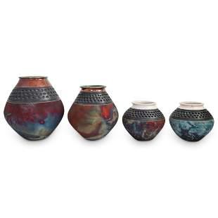 """(4 Pc) Signed J. Melkonian """"Raku"""" Art Pottery Grouping"""