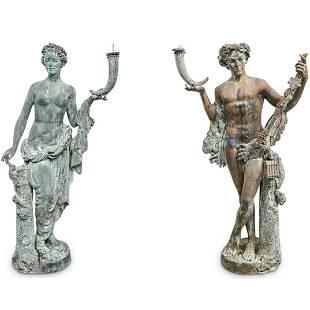Roman-Greco Bronze Figural Garden Statues