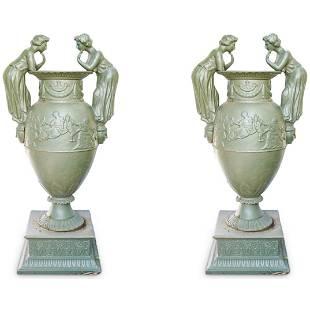Pair of Neoclassical Figural Garden Urns