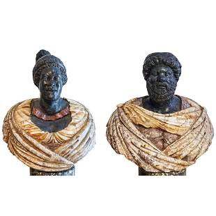 Monumental Marble King Micipsa & Queen Sculptural Busts