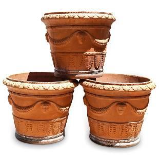 (3 Pc) Italian Terracotta Garden Planters