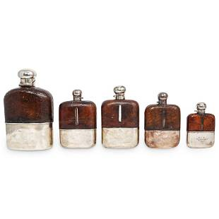 (5Pc) Victorian Sterling & Leather Flasks