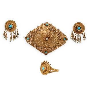 Antique Persian 12k Gold Jewelry Set