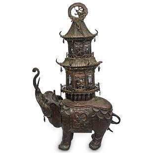 Japanese Bronze Elephant Pagoda Incense Burner