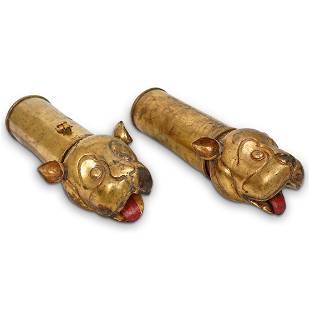 Pair of Mughal Gilt Bronze Palanquin Handles