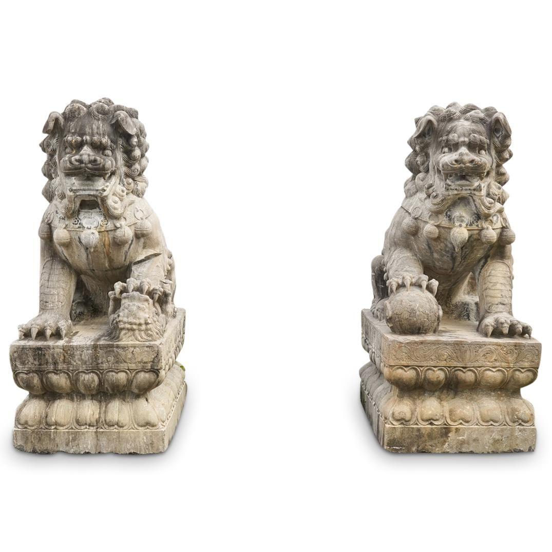 Monumental Qing Dynasty Stone Foo Dogs