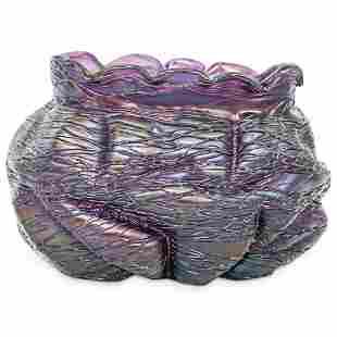 Loetz Amethyst Threaded Glass Vase