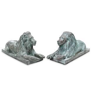 Pair of Cast Metal Guardian Lions