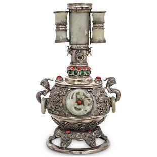 Rare 19th Cent. Tibetan Silver and Jade Vessel