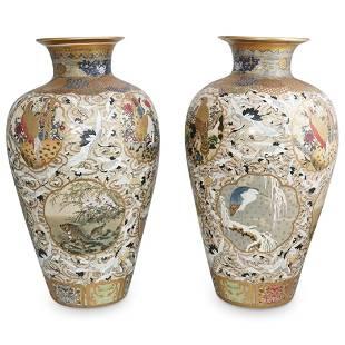 Large Satsuma Porcelain Floor Vases