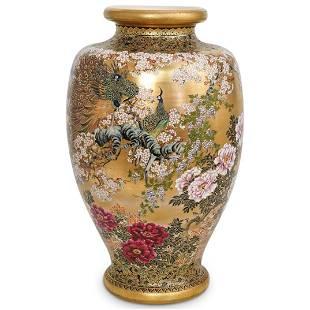 Large Satsuma Porcelain Peacock Vase