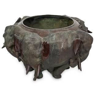 Japanese Meiji Elephant Bronze Bowl