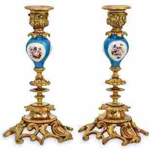 Sevres Porcelain and Gilt Bronze Candlesticks