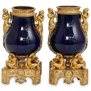 19th Cent. Sevres Gilt Bronze and Porcelain Vases