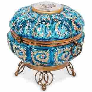 Antique Moser Enamel Glass Hinged Box