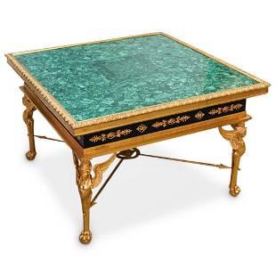 Empire Style Bronze & Malachite Table