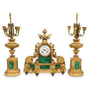 Louis XVI Malachite and Gilt Bronze Garniture Set