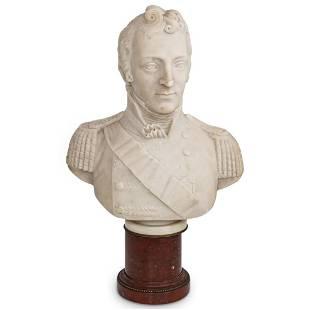 Napoleon Bonaparte Marble Bust with Rouge Base