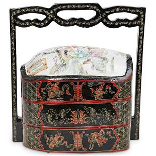 Chinese Porcelain and Lacquered Wedding Basket