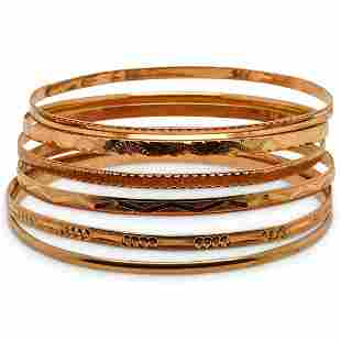 (6 Pc) Group of Yellow Gold Bangle Bracelets