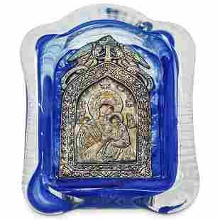 Russian Orthodox Madonna & Child Glass Icon