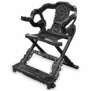 Chinese Carved Zitan Wood Folding Armchair